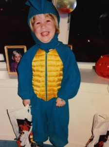 Me as a dinosaur. Age 4. 2 chins.